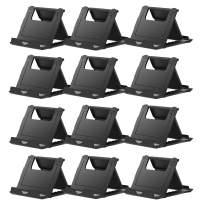 COOLOO Adjustable Cell Phone Stand for Desk, 12 Pack Smartphone Tablet Stand, Universal Foldable Multi-Angle Pocket Desktop Mobile Phone Holder (12 Black)