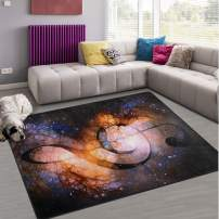 Naanle Music Note Area Rug 5'x7', Music Clef in Space with Stars Polyester Area Rug Mat for Living Dining Dorm Room Bedroom Home Decorative