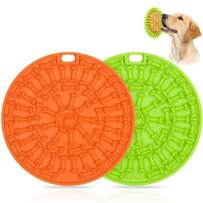Dog Lick Pad, Slow Dispensing Treater Mat with 37 Strong Suctions to Wall, Dog Bath Distraction Device, Peanut Butter Lick Mat for Pet Bathing, Grooming and Dog Training
