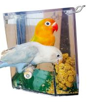 Birds LOVE Bird Feeder Seed Catcher Tray Hanging Cup Food Dish for Cage for Small Birds Lovebirds Cockatiels Canaries Sun Conures