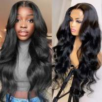 S-noilite Pre Plucked Body Wave Lace Front Wigs With Baby Hair 100% Brazilian Remy Human Hair Front Lace Wig Glueless Natural Wavy For Black Black Women 12inch 1B Black 130% Density