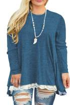 VISLILY Womens Plus Size Tunic Tops Casual Lace Long Sleeve A-Line Blouse Shirt