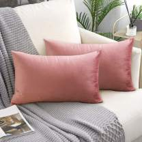 laqula Decorative Velvet Throw Pillow Covers - 12 x 20 Inch Set of 2 Soft Solid Cushion Pillowcases with Hidden Zipper for Home Sofa Bed Car Decor (Pink)