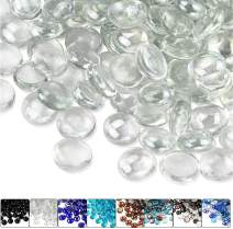 Hisencn 1/2 Inch Crystal Ice Luster Fire Glass Beads for Fire Pit, Fireplace, Fire Bowls, Garden Landscaping Decorative Accessories, High Luster Tempered Glass Rocks, 10 Pounds
