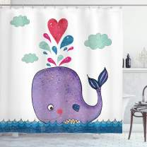 """Ambesonne Whale Shower Curtain, Smiley Whale Motif with Hearts and Clouds on Sea Print, Cloth Fabric Bathroom Decor Set with Hooks, 70"""" Long, Purple Blue"""