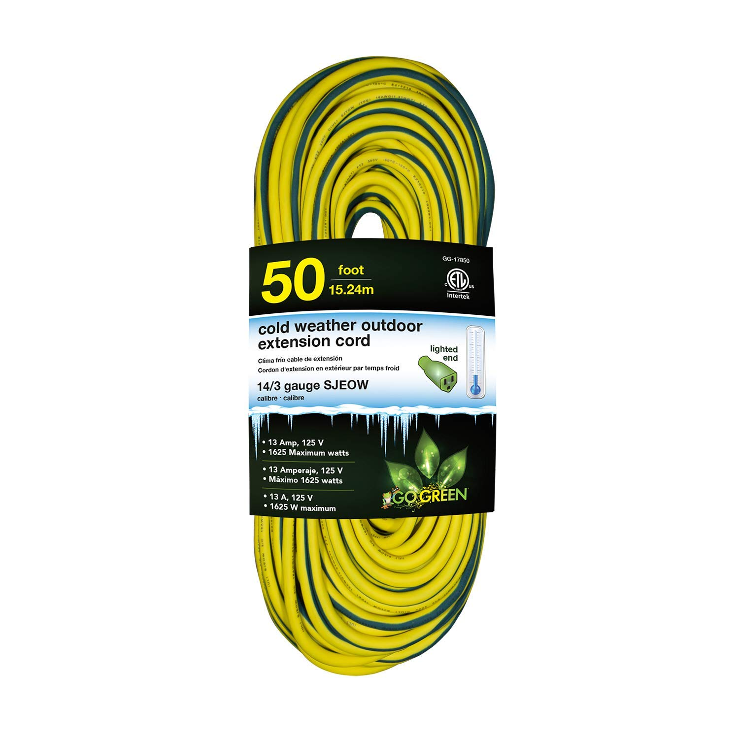 GoGreen Power GG-17850 14/3 50' SJEOW Cold Weather Extension Cord, Yellow - UL Approved