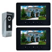 AMOCAM Video Intercom System, 7 Inches Video Doorbell Door phone System, Wired Video Door Phone HD Camera kits Dual-way Intercom for Villa House Office Apartment 1-IR camera 2-LCD color monitor