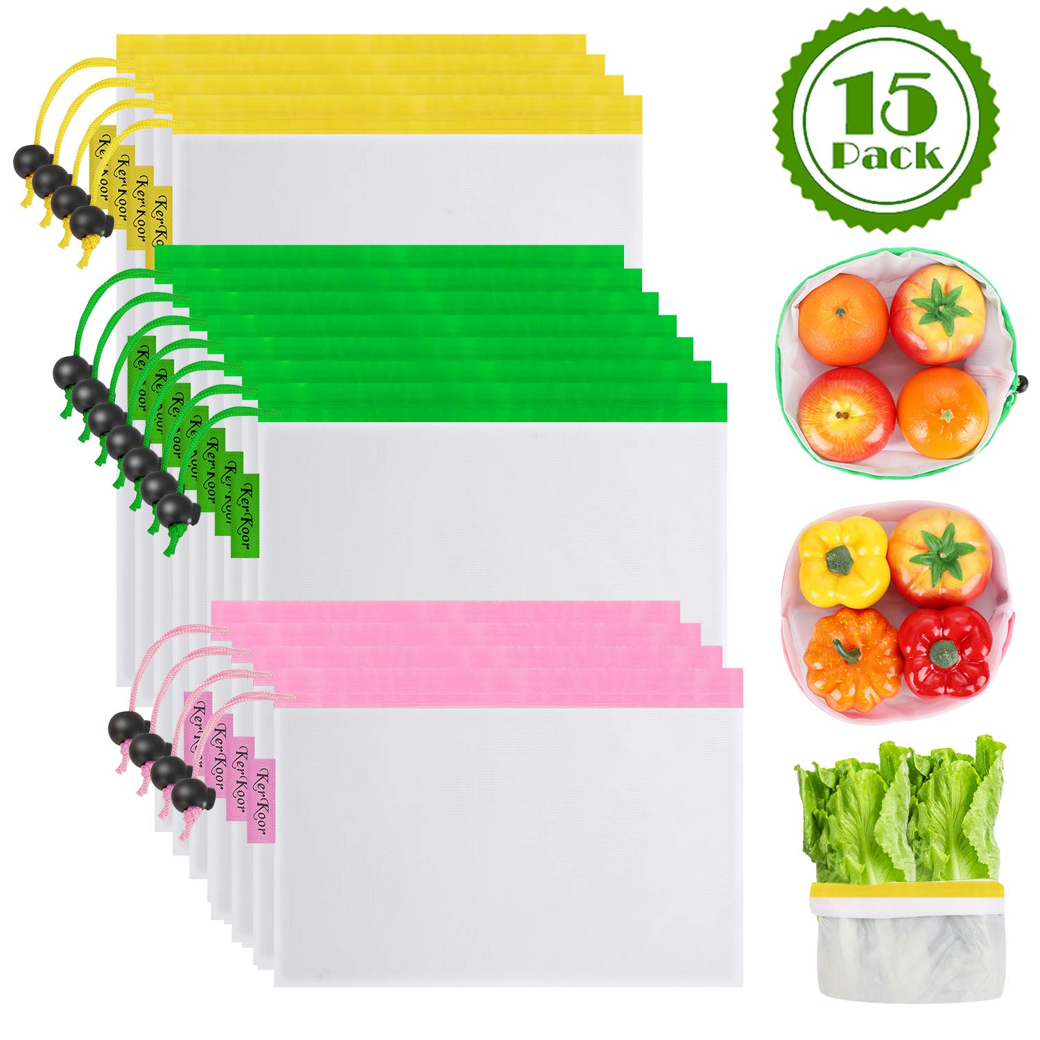 Reusable Produce Mesh Bags - Washable Set of 15 Premium Eco-Friendly See Through Shopping bags with Drawstring for Fruits, Vegetable, Food, Toys, Grocery Storage, 4 Large, 7 Medium, 4 Small