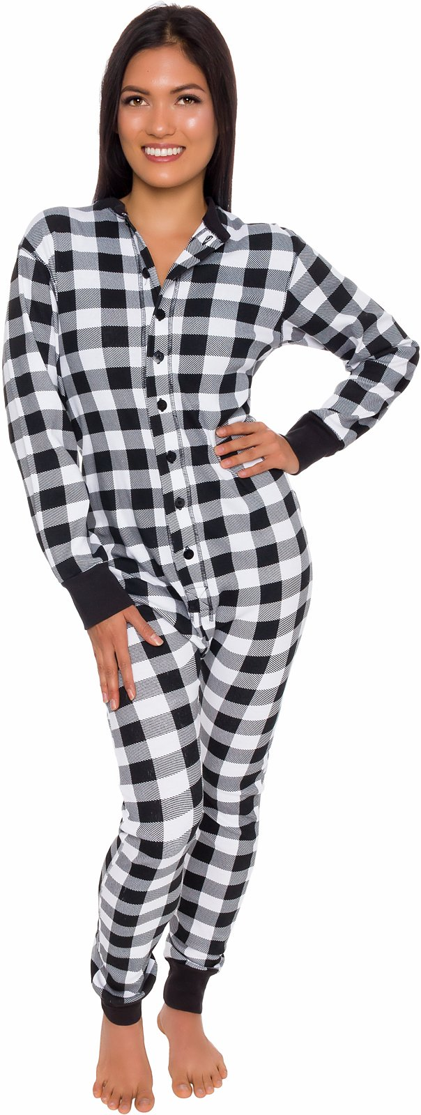 Silver Lilly Buffalo Plaid Womens One Piece Pajamas - Adult Unisex Union Suit with Drop Seat Butt Flap