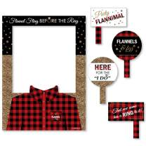 Big Dot of Happiness Flannel Fling Before the Ring - Buffalo Plaid Bachelorette Party Selfie Photo Booth Picture Frame and Props - Printed on Sturdy Material