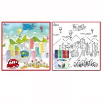 Large Washable Kids Coloring Play Mat with Bustling 'City Life' Design, Along with 12 Washable Markers, 'the Perfect Alternative for Coloring Books' Great for Boys & Girls by Dimple