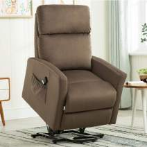 Power Lift Recliner Chair, 3 Position & Side Pocket, Bonzy Home Living Room Chair for Elderly with Overstuffed Design, Power Lift Chair with Safety Motion Reclining Mechanism, Brown
