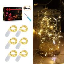 Sunfuny 6PCS Fairy Lights Warm White 6.6FT Silver Copper Wire 20 Micro LED Starry Twinkle String Lights Battery Powered Firely Lights 2PCS CR2032 Batteries for Costume DIY WeddingDecor, Gift for Mom
