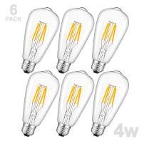 Vintage Edison LED Bulbs, 4W 400LM Warm White ST21(ST64) Antique LED FilamentBulb, 40W Incandescent Replacement, Clear Glass, Squirrel Cage E26 Medium Base Light for Decorate Home, Pack of 6