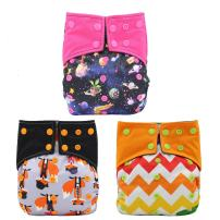 Baby Girls Nappy Two Sides Pocket Bamboo Charcoal Cloth AIO Diaper 3 Pcs, Sewn in Insert Double Gussets Ohbabyka