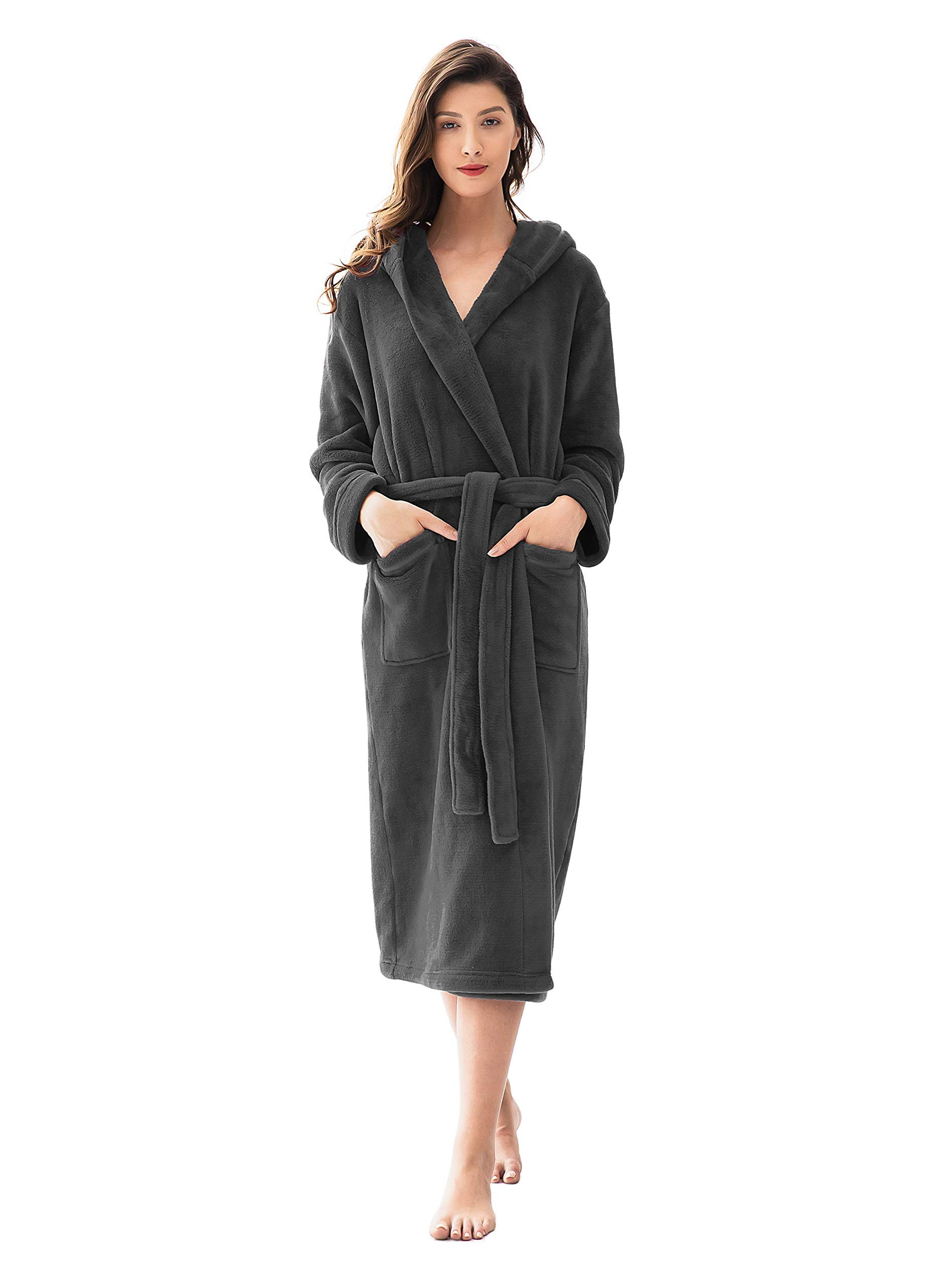 Women's Plush Robe, Fluffy Fleece Robe with Hood Long Soft Warm Bathrobe House Coat S~XL