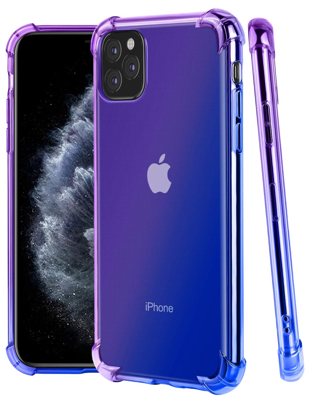 Jelanry iPhone 11 Pro Max Case, iPhone 11 Pro Max Gradient Color Clear Case Ultra Thin Shock Drop Proof Protective Cover Scratch-Resistant Soft TPU Bumper for iPhone 11 Pro Max 6.5inch Purple Blue