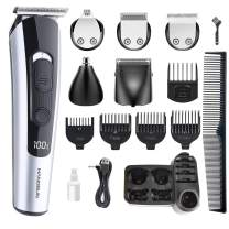 Hangsun Beard Trimmer Hair Clippers for Men Cordless Grooming Kit HC550 for Mustache, Head, Body, Face and Nose Hair USB Rechargeable - 10 in 1 Cutting Groomer