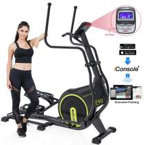 SNODE Magnetic Front Driven Elliptical Machine Trainer Fitness Exercise Equipment for Home Workout with APP Function and LCD Monitor