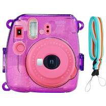 SAIKA Crystal Case for Fujifilm INSTAX Mini 9 Instant Camera (Grape) with Adjustable Shoulder Strap
