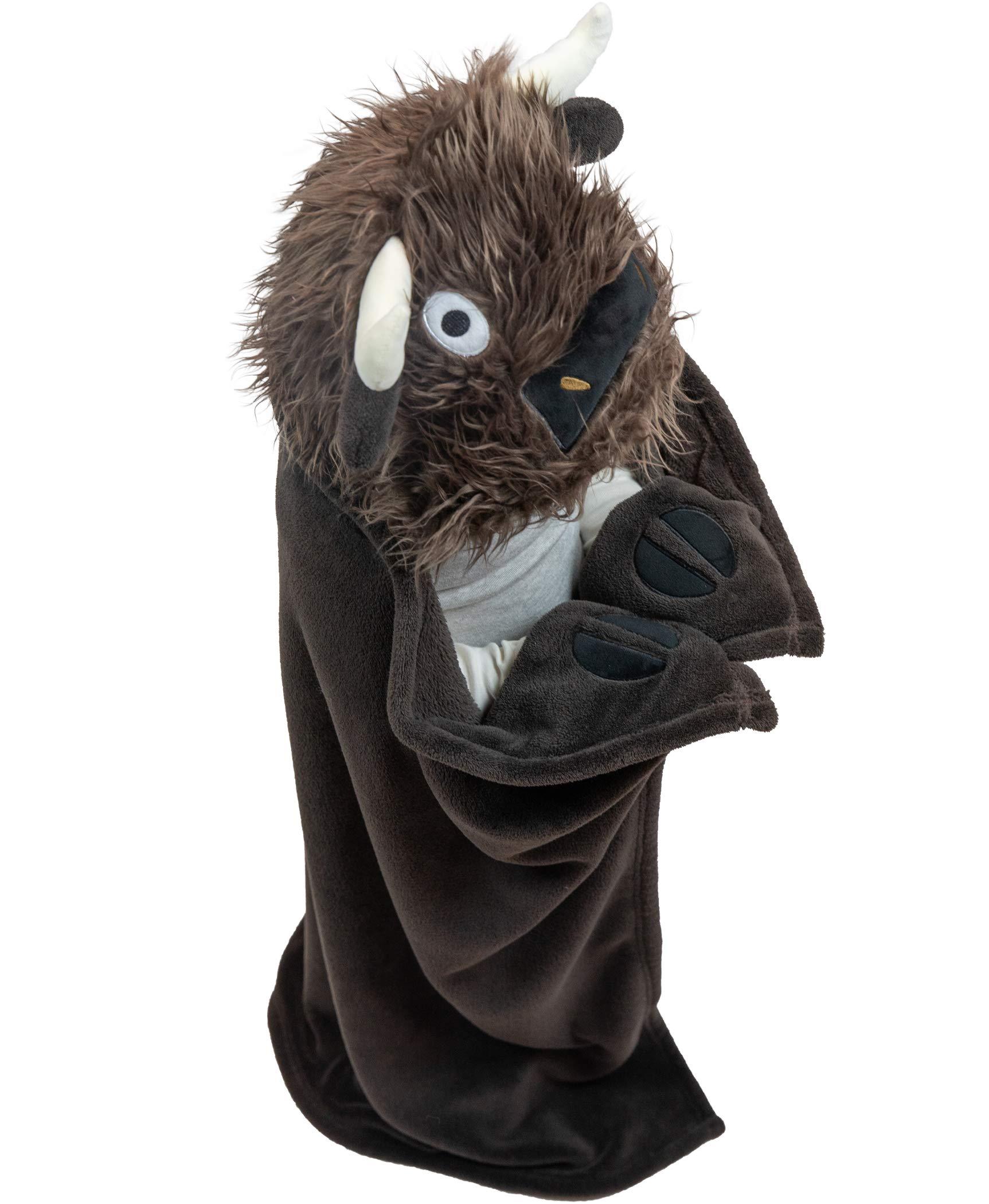 Lazy One Animal Blanket Hoodie for Kids, Hooded Blanket, Wearable Blanket, Soft, Cozy, Warm, Fleece (Buffalo Blanket)