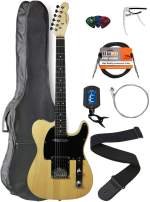 Vault Natural Electric Guitar with Ovangkol Neck Bundle with Gig Bag, 10w Amp, Strap, Tuner, Strings, Instrument Cable, Capo, and Picks