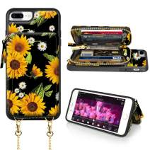 LAMEEKU iPhone 8 Plus Wallet Case, iPhone 7 Plus Card Holder Case, Floral Sunflower Pattern Zipper Leather Case with Credit Card Slot Strap, Protective Cover for iPhone 7 Plus/8 Plus-Sunflower