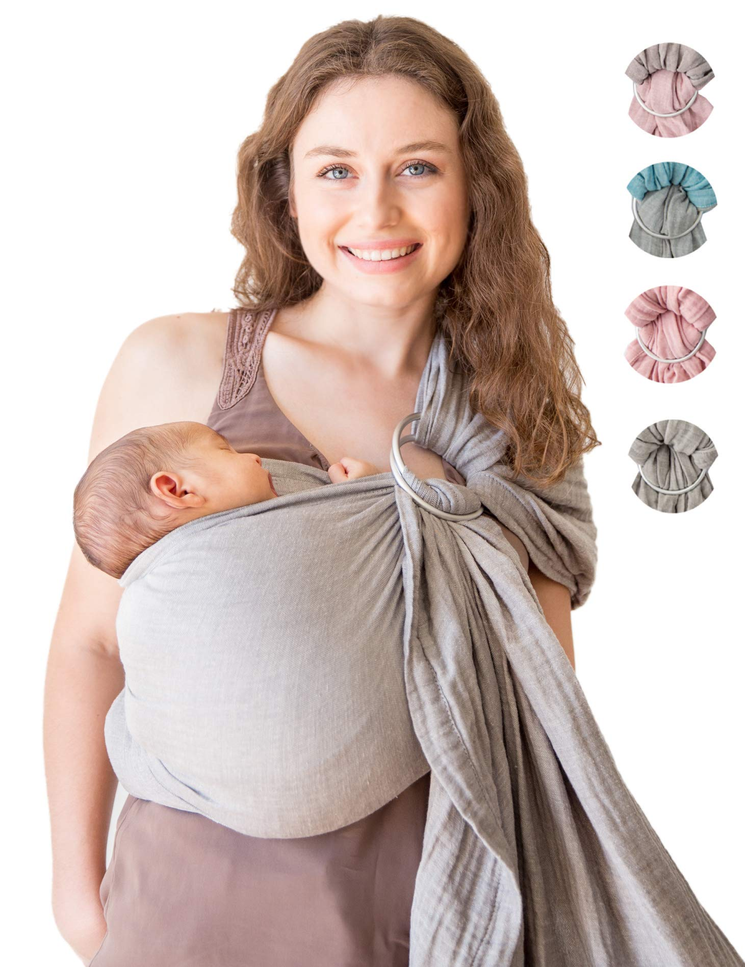 Baby Wrap Carrier Ring Sling-Luxury Extra Soft Turkish Cotton Muslin Grey-for Newborns, Infants and Toddlers-Perfect Baby Shower Gift