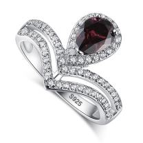 Zetaur 925 Sterling Silver Created Ruby Spinel Chevron Ring