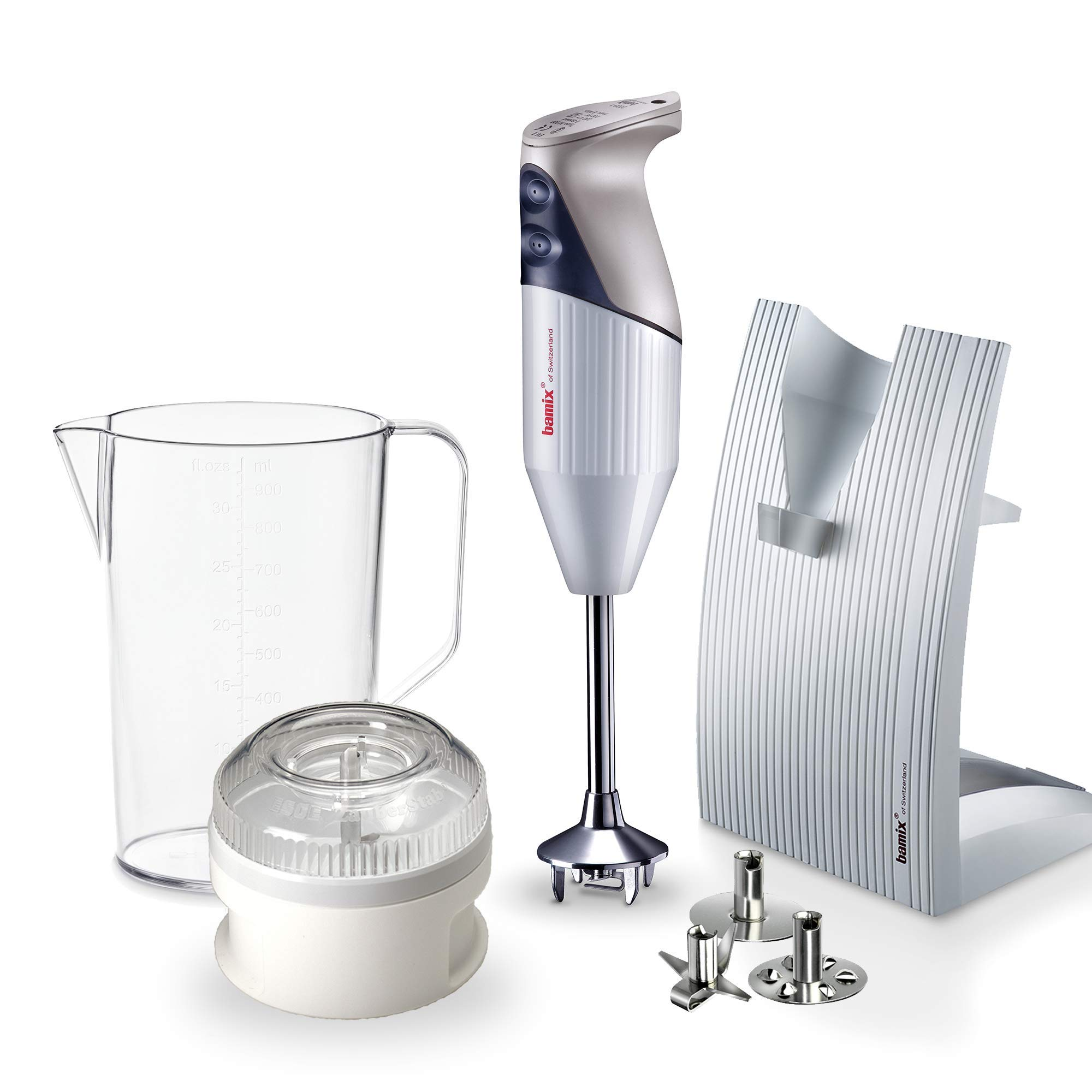 """Bamix – M150 """"SwissLine"""" Immersion Hand Blender – 150W, 120V, 60Hz – The Original Hand Mixer, Blender, and Food Processor All-In-One – Swiss-Made – Includes 3 Stainless Steel Blades – Light Grey"""