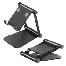 """Cell Phone Stand, Adjustable Phone Holder,Aluminum Alloy Fully Foldable Dock Cradle for Desktop,Compatible with All Android Smartphone,Mobile Phone 11 Pro XS Max Xr,Switch Tablets 7-10"""" (Black)"""