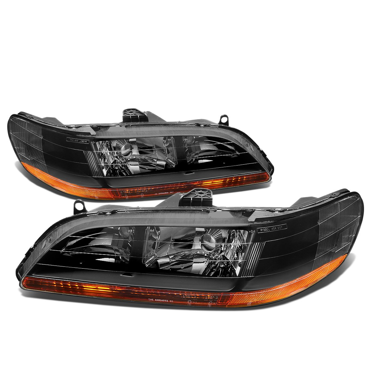 For Honda Accord CG Pair of Black Housing Amber Corner Headlight Lamp