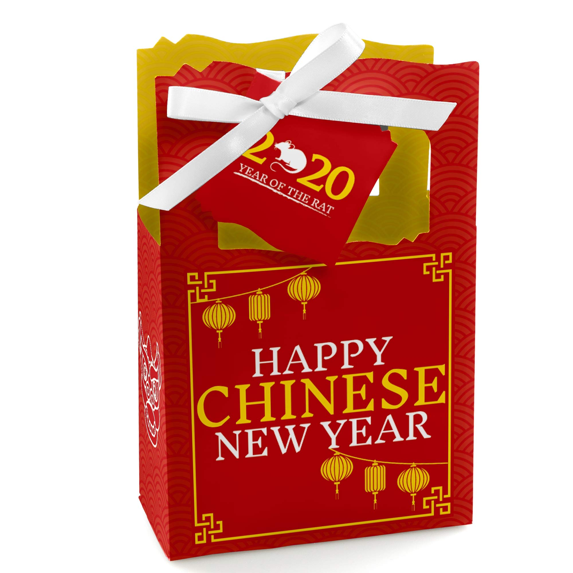 Big Dot of Happiness Chinese New Year - 2020 Year of the Rat Party Gift Boxes - 12 Count
