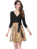 Allegra K Women's V-Neck Sequin Panel Party Wrap Dress with Belt M Gold Black