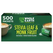 WHOLE EARTH Stevia & Monk Fruit Plant-based Sweetener, 500 Packets (Packaging May Vary)