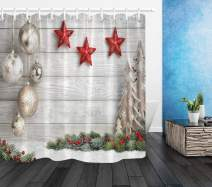 LB Merry Christmas Shower Curtain Sets,Unique Design Wood Plank with Christmas Balls Bells Stars Print Funny Christmas Ornament Shower Curtain for Kids,78x72 Inch Polyester Fabric with 12 Hooks