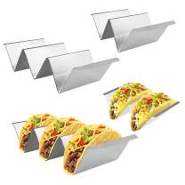Fortomorrow 4 Packs Taco Holders Set with Handles, Stainless Steel Taco Stand Taco Trays, Hold 2 or 3 Hard or Soft Shell Tacos, Oven Dishwasher And Grill Safe, Fill & Serve Tacos with Ease