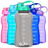 QuiFit Motivational Gallon Water Bottle - with Straw & Time Marker,BPA Free Reusable Large Leakproof Portable Water Jug,for Fitness Camping Outdoor Sports