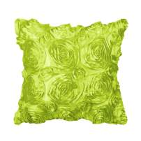 """PiccoCasa 3D Satin Rose Flower Throw Pillow Cover Shells,Arts Decorative Pure Color Roses Floral Cushion Covers for Couch,16"""" x 16"""", Green"""