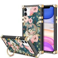 HoneyAKE Case for iPhone 11 Case with 360 Degree Rotation Ring Stand Holder Floral Flower Elegant Soft TPU Reinforced Corner Shock-Absorbing Protective for iPhone 11 6.1 inches, Flowers