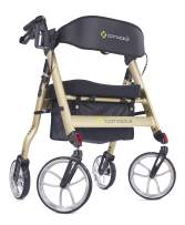 "Comodita Uno Heavy-Duty Aluminum Rollator Walker with Orthopedic 16"" Wide Seat (Metallic Champagne)"