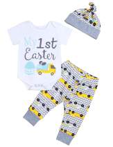 Easter Day Newborn Infant Baby Boy My 1st Easter Outfits Short Sleeve Onesie Set