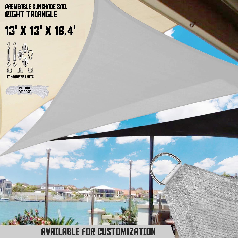 "TANG Sunshades Depot 13'x13'x18.4' Light Grey Sun Shade Sail 180 GSM with 6"" in Hardware Kit Right Triangle UV Block Outdoor Canopy Patio Garden Yard Pergola Park School Custom"