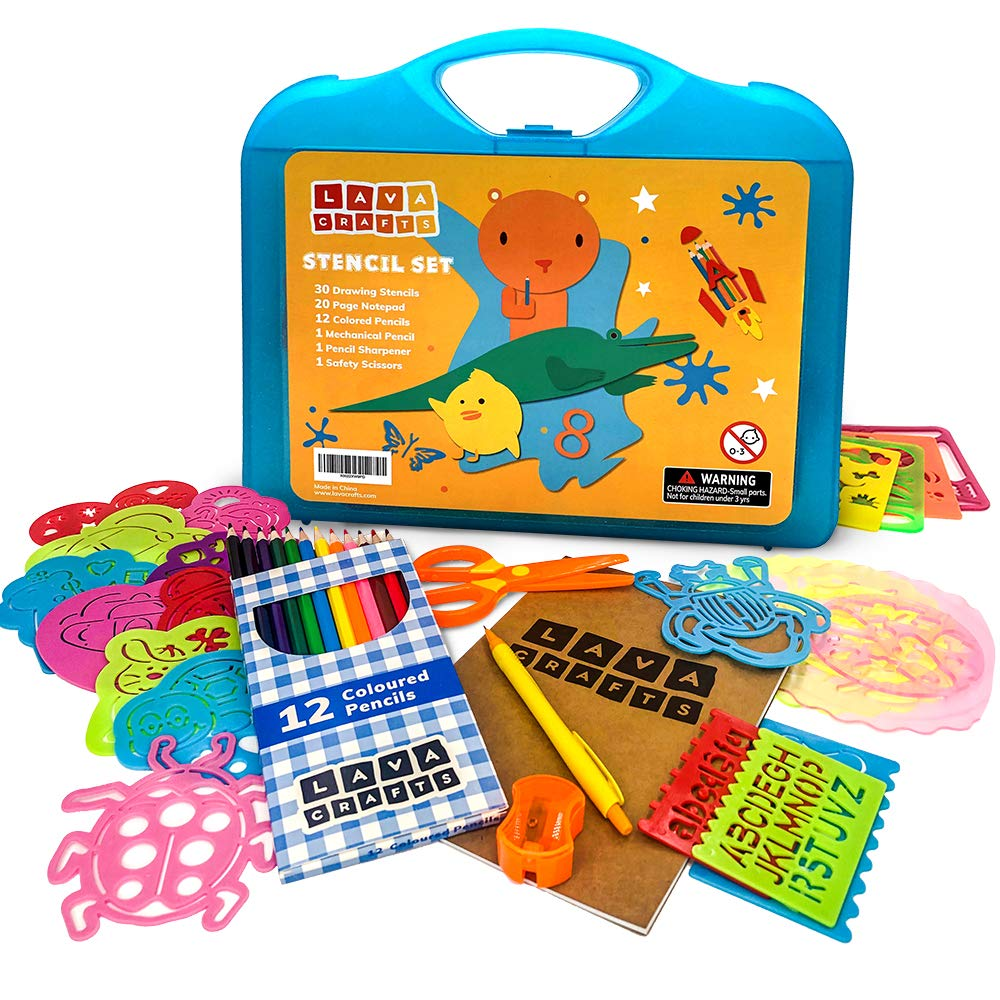 Lava Crafts Stencil Set (46 Pieces)   Arts and Crafts for Kids   Drawing Stencils for Girls and Boys   Perfect Home Activity   3+ Year Old Through 4 5 6 7 8   Numbers Letters