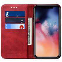 Wallet Case for 2019 iPhone 11, Kickstand Magnetic PU Leather Flip Cover Book Style ID Credit Card Holder, 6.1 inches, Red