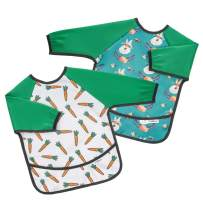 Tickleton Waterproof Long Sleeve Bibs for Eating 2 pcs │Smock Bib with Pocket for 6-24 Months │Machine Washable │Odor and Stain Resistant │Lightweight │Cute Unisex Designs with Bright Colors