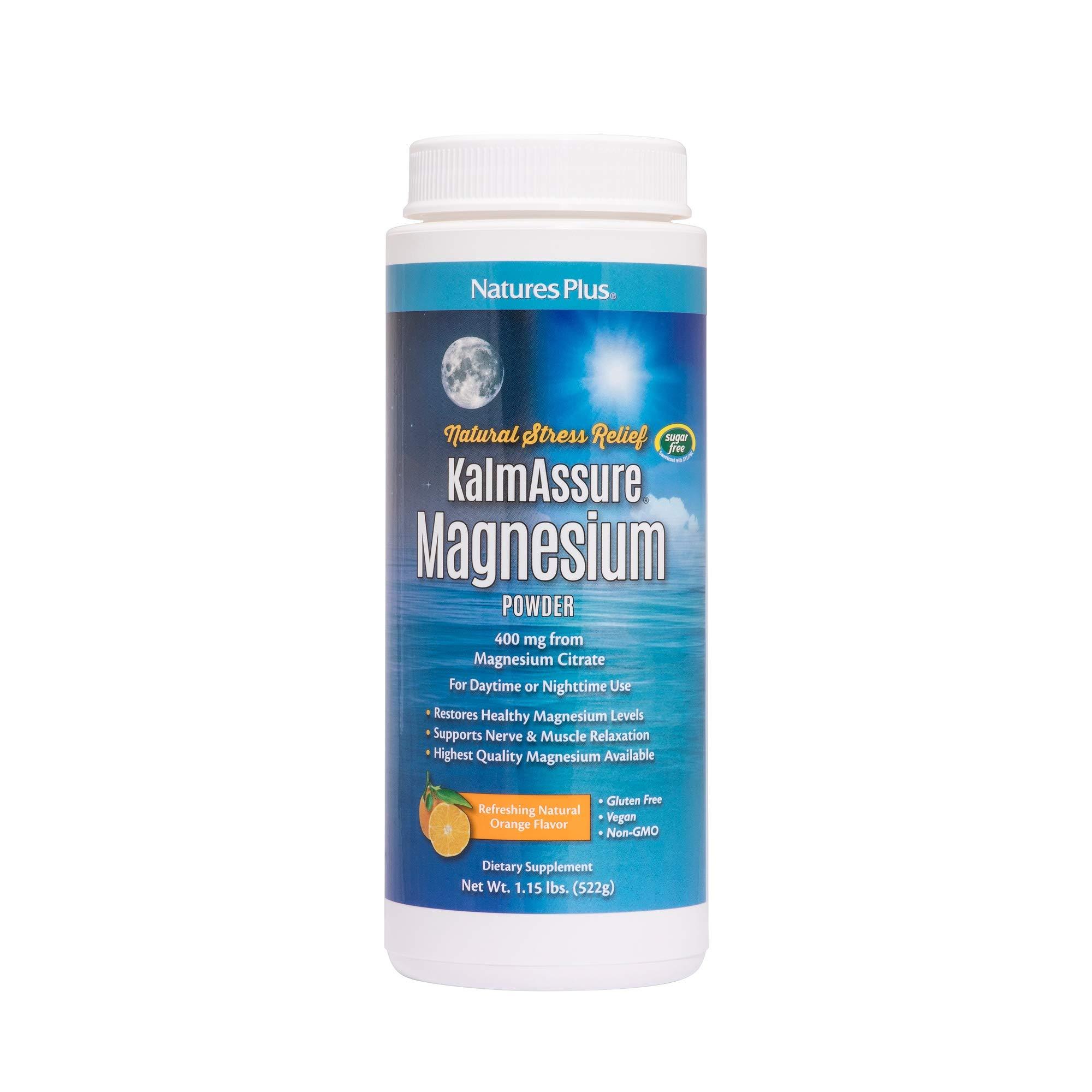 NaturesPlus Kalmassure Magnesium Powder - 400 mg, Vegan Powder - Orange Flavor - Natural Stress Relief, Supports Nerve and Muscle Relaxation - Non-GMO, Vegetarian, Gluten-Free - 60 Servings
