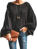 Cogild Women's Knit Sweater Batwing Sleeve Crew Neck Irregular Hem Hollow Casual Loose Pullover Jumper Tops