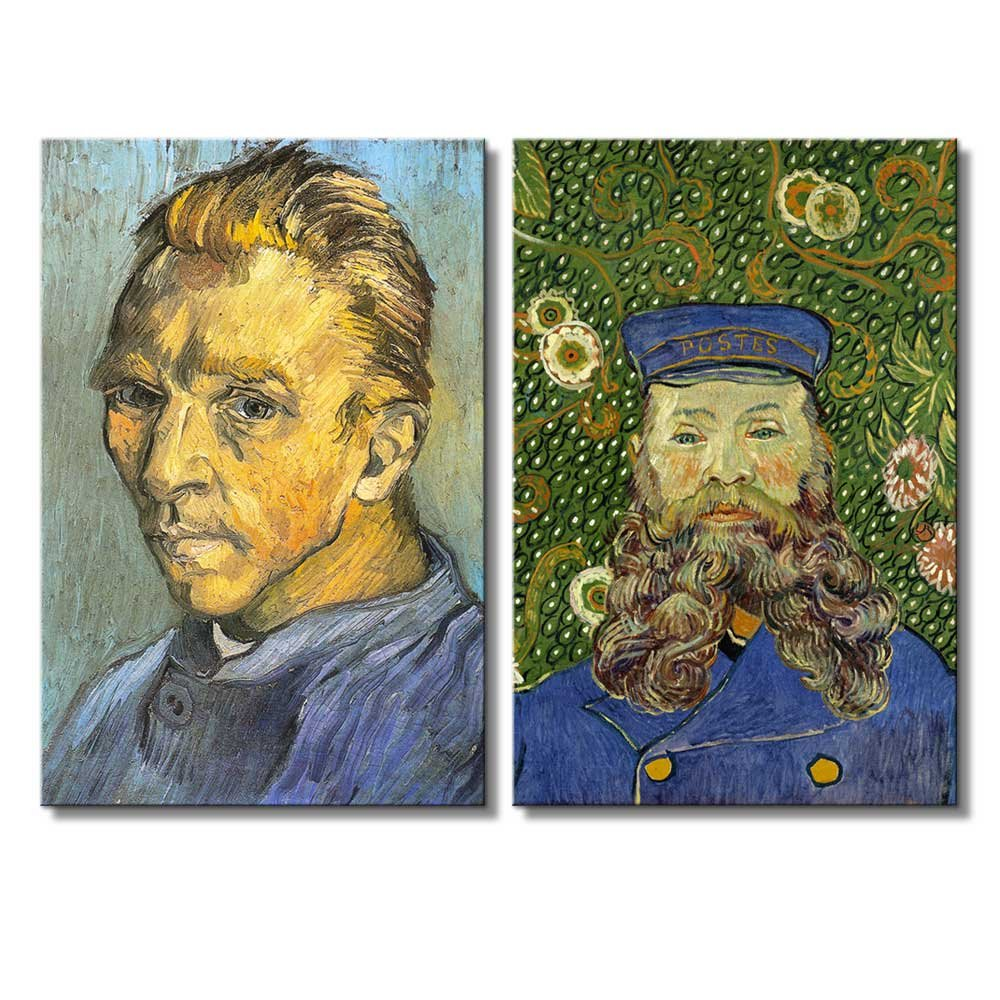 """wall26 - Portrait of The Postman Joseph Roulin/Self Portrait by Vincent Van Gogh - Oil Painting Reproduction in Set of 2 