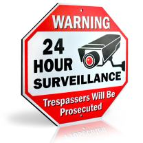 """Signs Authority Reflective Warning 24 Hour Surveillance No Trespassing Metal Sign for Home Business Video Security CCTV Camera 12"""" by 12"""" Aluminum"""